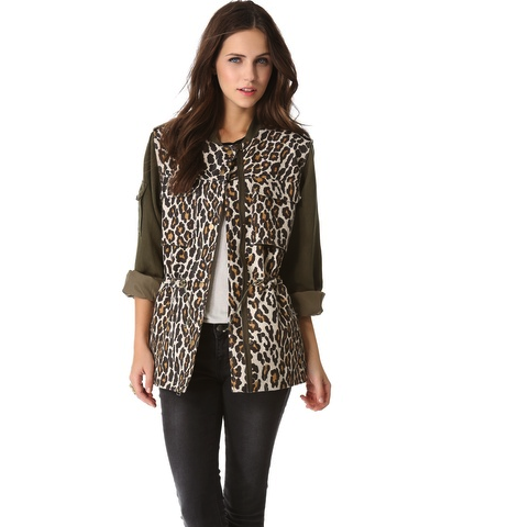 Leopard Combo Military Jacket