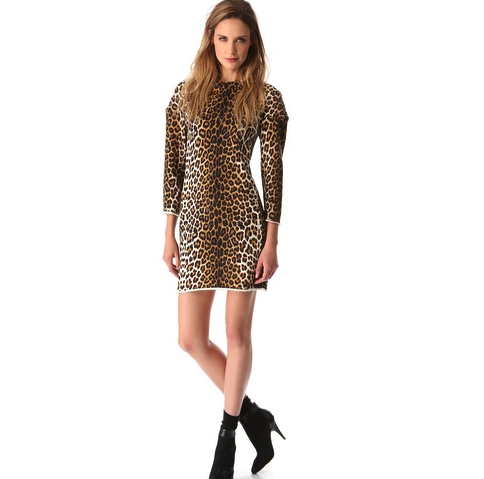3.1 Phillip Lim Leopard Print Sweatshirt Dress