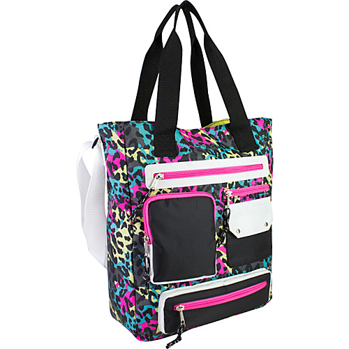 Eastsport Multi Pocket Organizational Tote Neon Cheetah