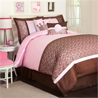 Full 6 Piece Leopard Pink and Brown Comforter Set