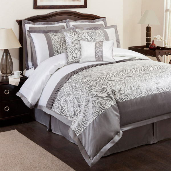 Urban Gray and White Zebra Print 8 Piece Comforter Set by Triangle Home Fashions