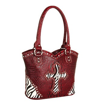 M&F Western -Zebra Animal Print Red Cross Shoulder Bag