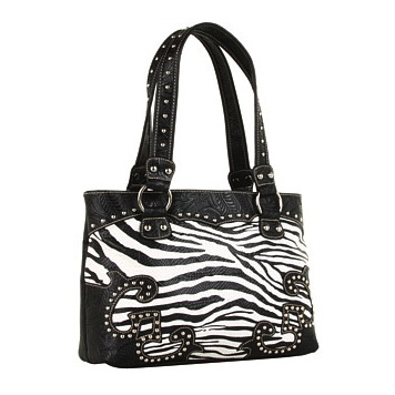 M&F Western Tooled Zebra Animal Print Shoulder Bag