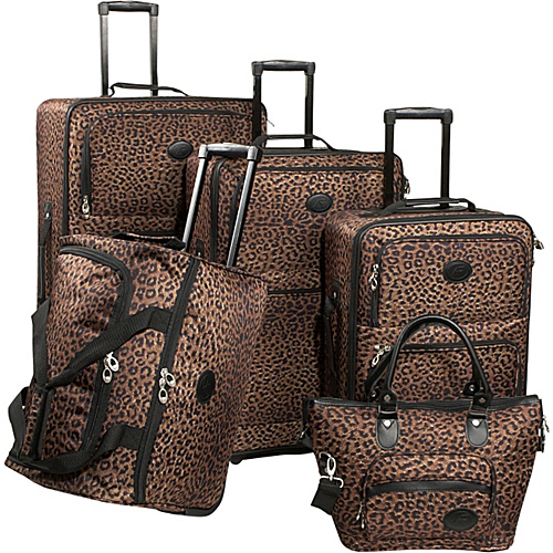 American Flyer Leopard Animal Print 5-Piece Luggage Set