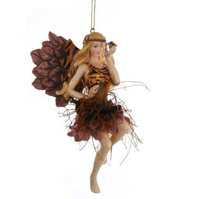 Exotic Zebra Animal Print Jungle Fairy Christmas Ornament