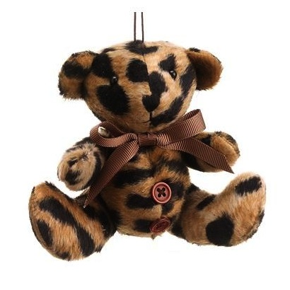 Diva Safari Brown Cheetah Animal Print Teddy Bear Christmas Ornament