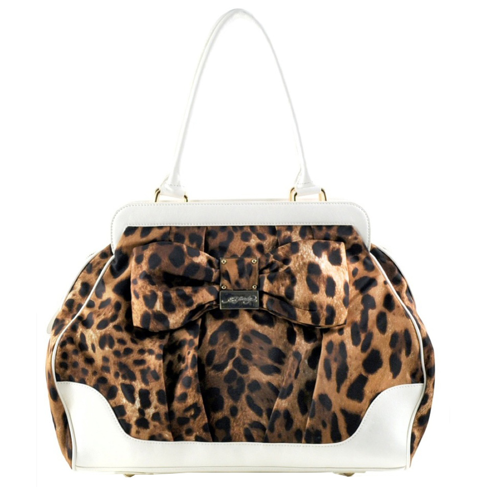 Ed Hardy Hattie Demi Satchel Bag – White Leopard