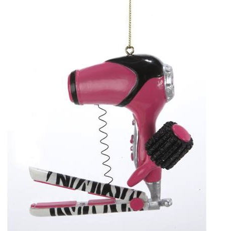 Christmas Pink and Zebra Print Blow Dryer with Brush and Flat Iron Ornament