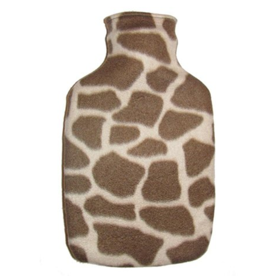Giraffe Print Fleece Covered Hot Water Bottle