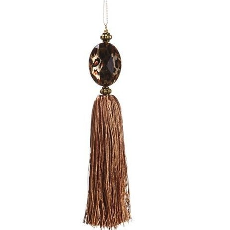 Gold and Cheetah Animal Print Tassel Christmas Ornament