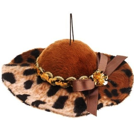 Fashion Avenue Brown and Gold Cheetah Print Floppy Hat Christmas Ornament