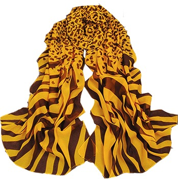 Hot Style Celebrity Zebra Scarf Shawl Yellow