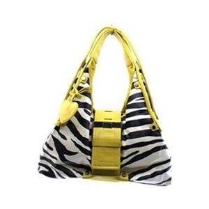 Zebra Print Handbag Yellow Trim