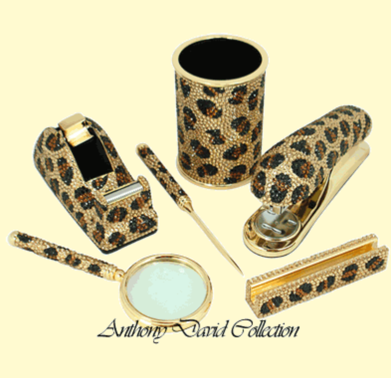 Anthony David® 6 PC Executive Desk Set with Swarovski Crystal – Leopard