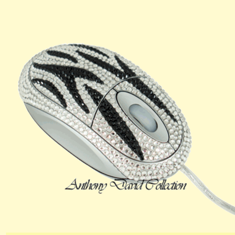Zebra Print Computer Mouse with Swarovski Crystal by Anthony David®