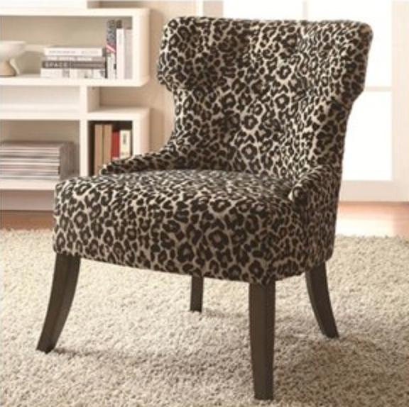 Armless Leopard-Print Accent Chair with Wooden Legs