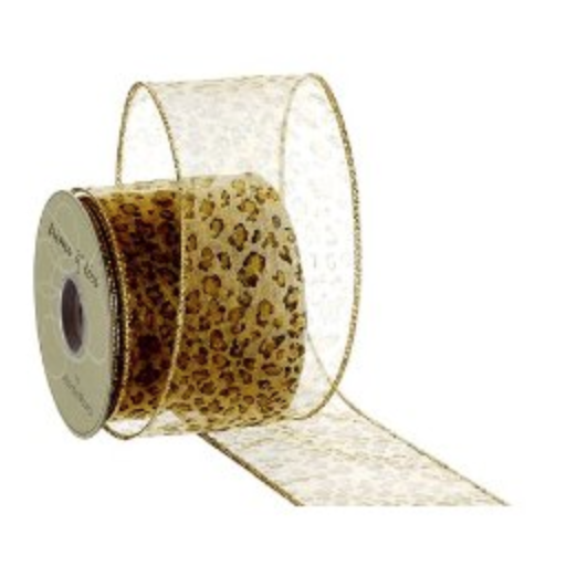 2.5″Wx10yd Leopard Animal Print Sheer Ribbon Two Tone Gold (Pack of 6)