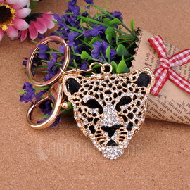 Classic Leopard Head Design Crystal Keychains