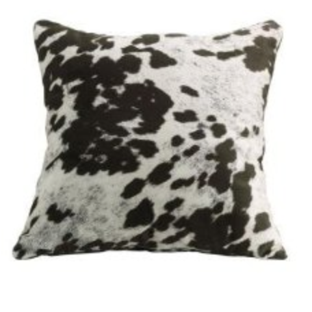 Cow Print Leather Decorative Throw Pillows – Set of Two