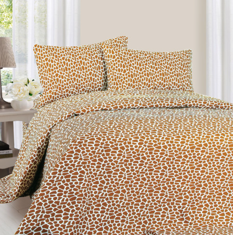Lavish Home Series Giraffe Print Sheet Set