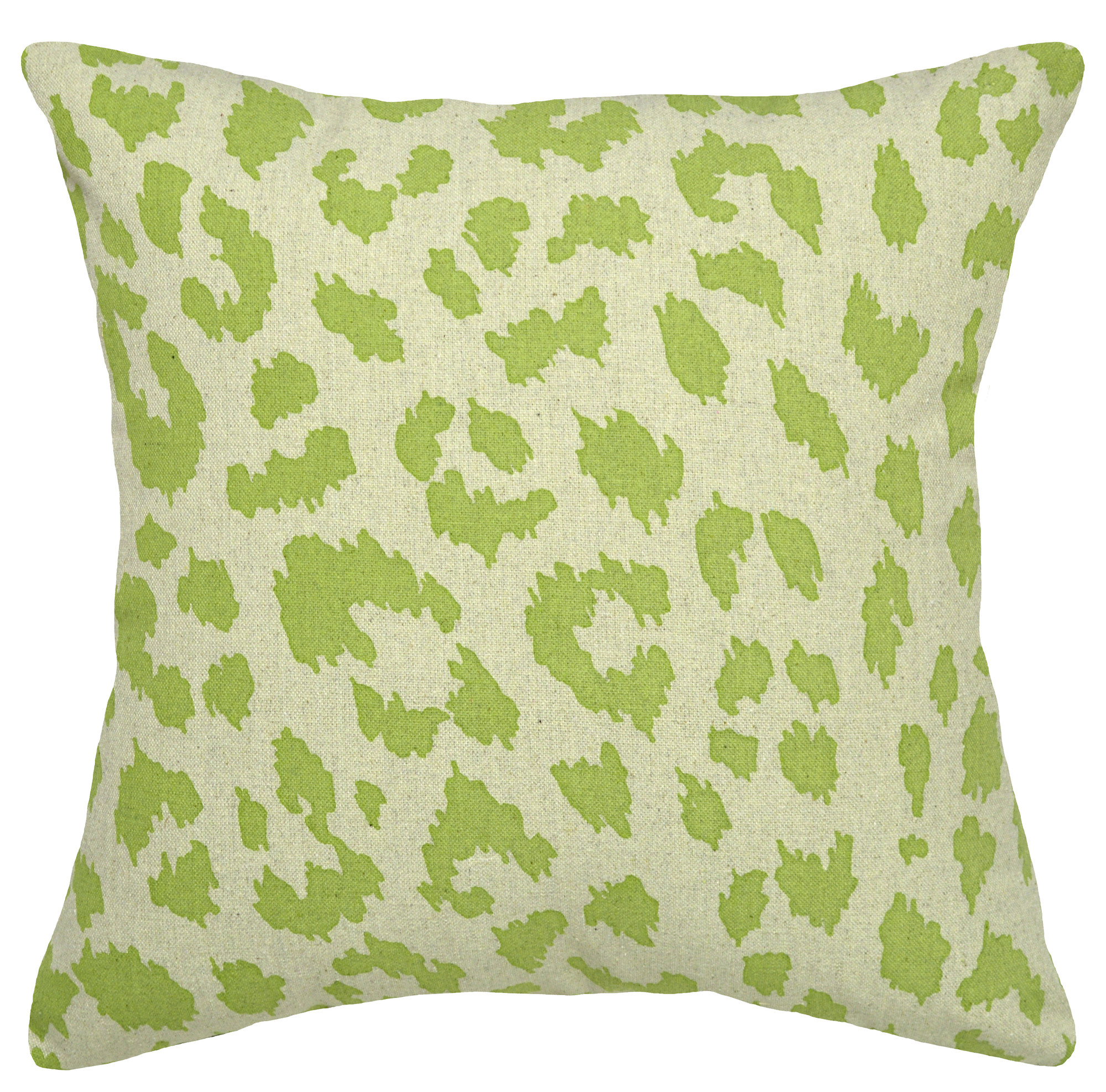 123 Creations Animal Print Green Cheetah 100% Linen Pillow