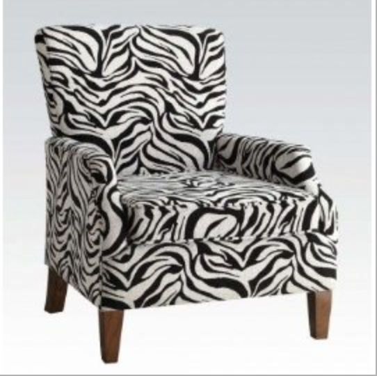 Chenille Zebra Fabric Accent Chair by Acme Furniture