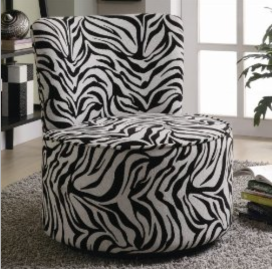 Coaster Furniture Accent Swivel Zebra Print Chair
