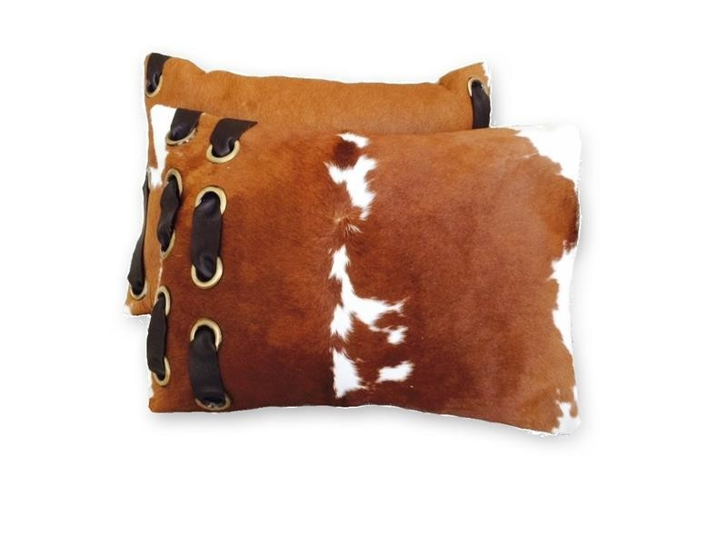 Brown and White Hide and Leather Pillow
