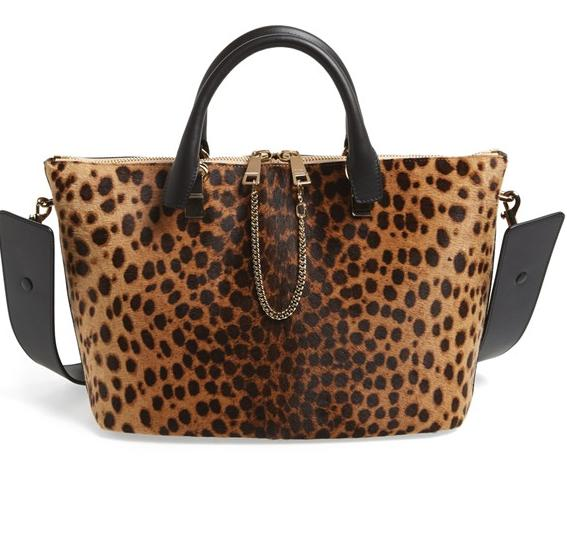 Chloé 'Medium Baylee' Leopard  Animal Print Calf Hair Shoulder Bag