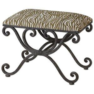 24″ Cream and Olive Zebra Striped Linen & Wrought Iron Small Bench