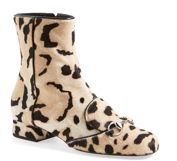Gucci Horsebit Leopard Animal Print Calf Hair Short Bootie