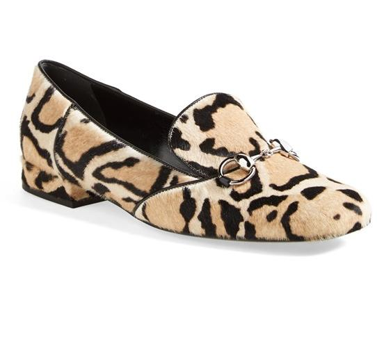 Gucci Horsebit Animal Print Calf Hair Flat Shoes