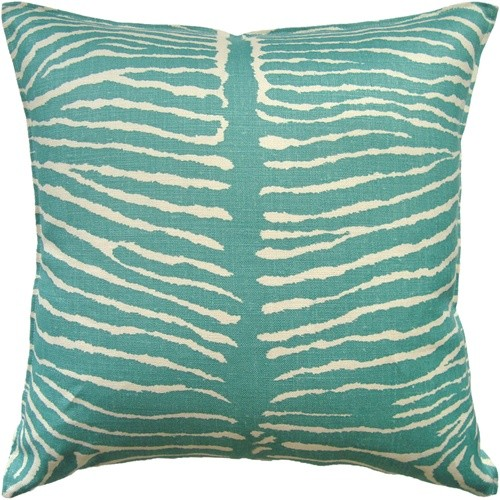 Le Zebre Zebra Animal Print Pillow-Aqua