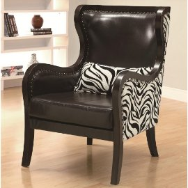 Zebra Print Accent Chair with Nailhead Trim