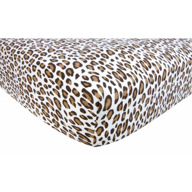 Leopard Cream Print Flannel Crib Sheet