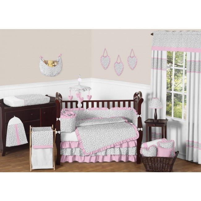 leopard pink and gray 9 pc crib bedding set by sweet jojo designs