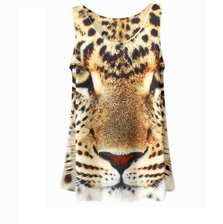 Fashion Multi Color Scoop Neck Animal Print Womens Camis