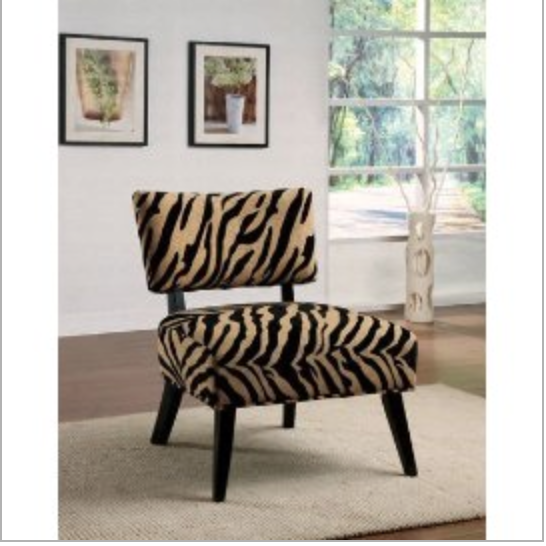 Modern Accent Chair with Zebra Pattern Microfiber Seat & Back