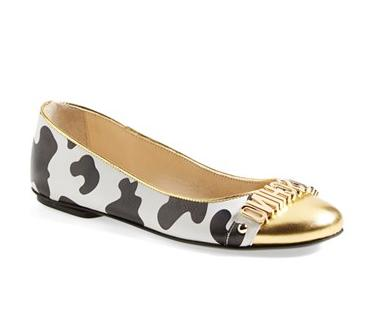 Moschino Cow Print Ballet Flat Shoes