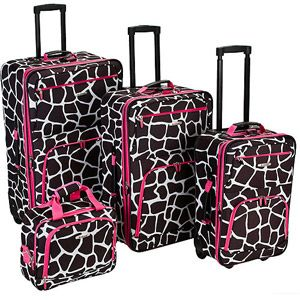 Rockland Luggage Fashion 4 Piece Expandable Luggage Set Pink Trim