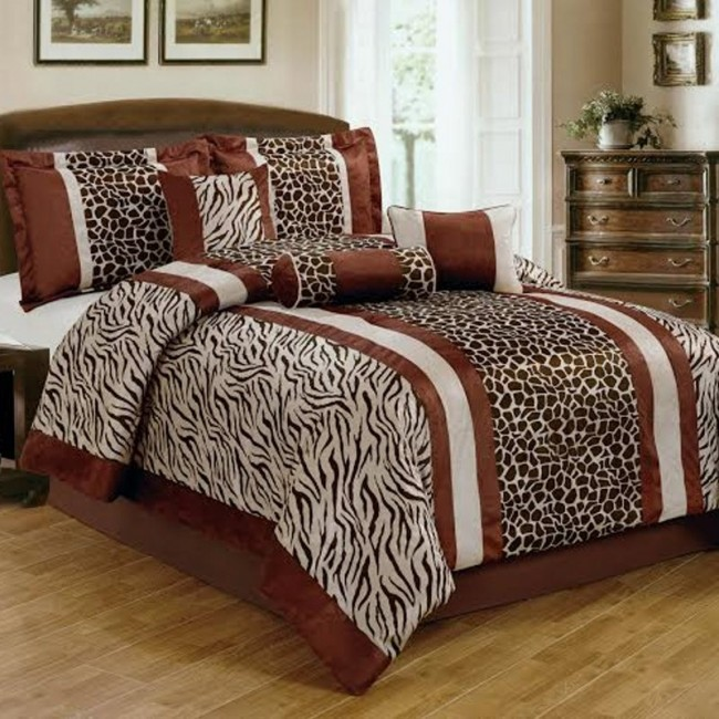 Safari Coffee Animal Print 7-Pc Comforter Set