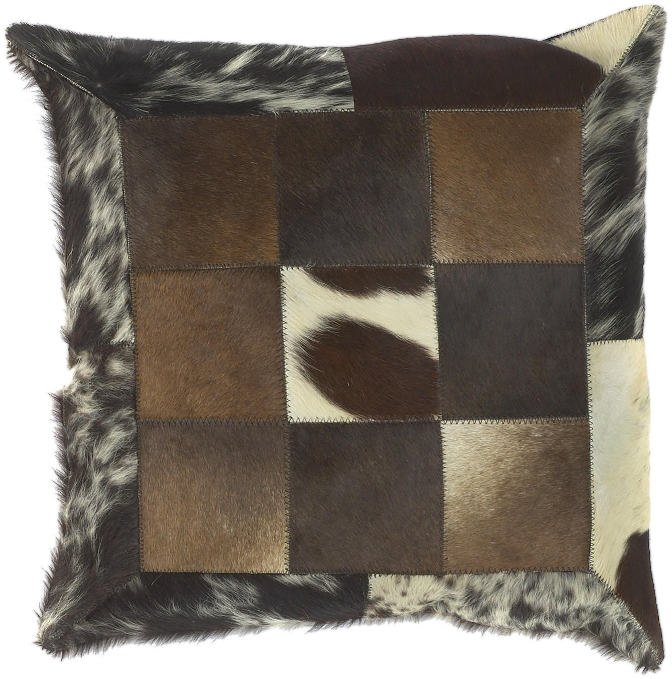 Surya Captivating Cow Hide Pillow