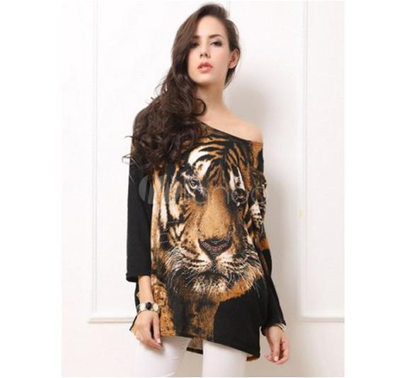 Brown Tiger Animal Print Roman Knit Oversized Bateau Neck Womens T-shirt