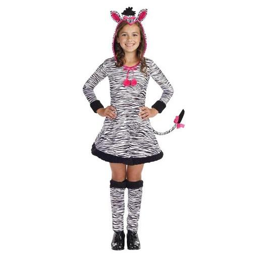 Girls Zebra Dress Kids Animal Print Halloween Costume