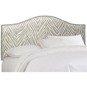 Graphite Zebra Print Upholstered Arched Headboard with Nailheads, Multiple Sizes