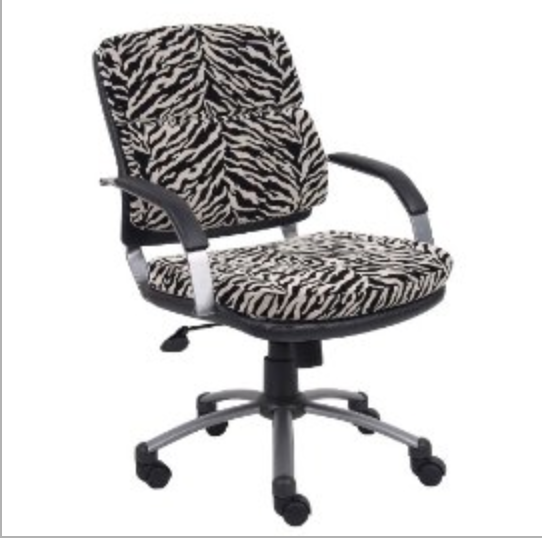 Boss Zebra Microfiber Mid Back Padded Arm Chair by Boss Office
