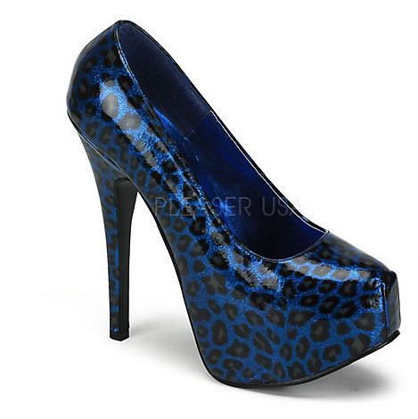 Blue Cheetah Print High Heel Pumps