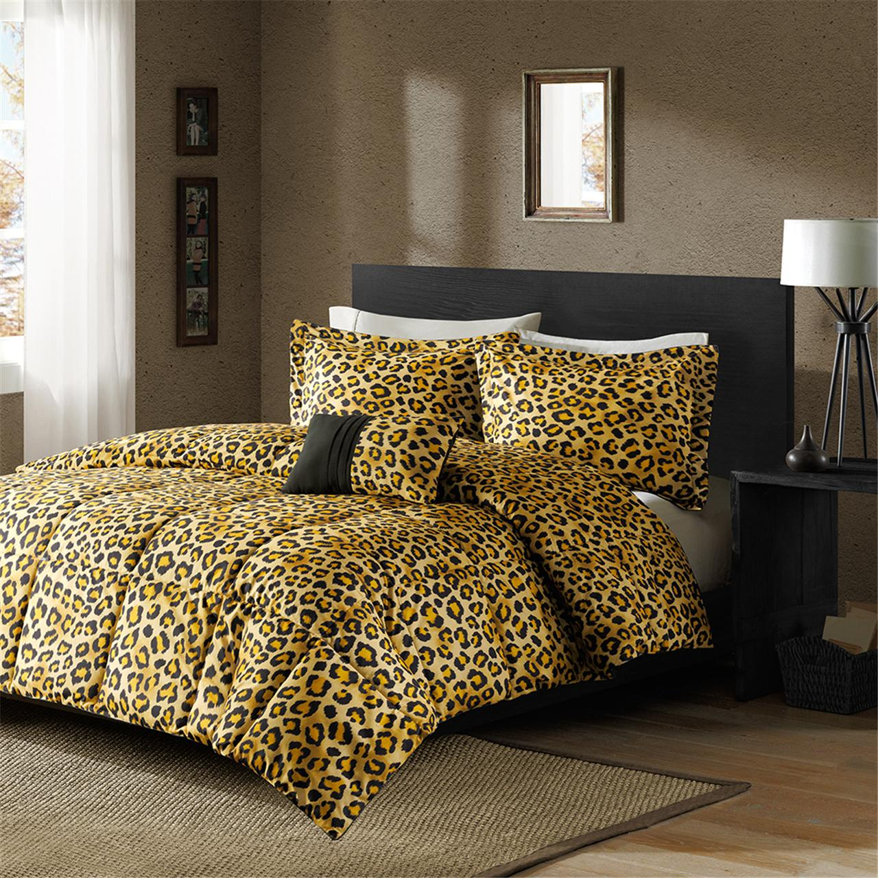 leopard print down alternative twin comforter set