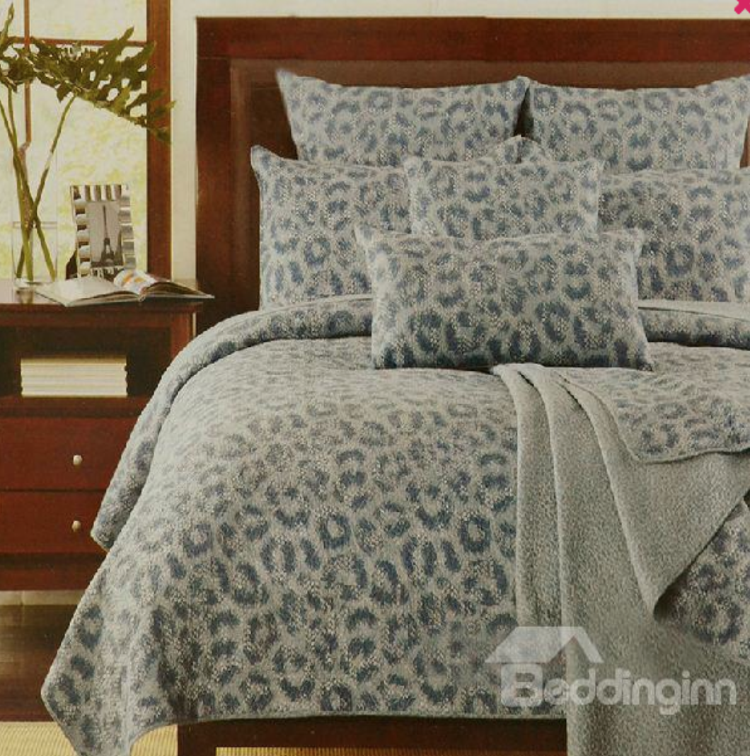Quality Gray Leopard Print Full Cotton Bed in a Bag Set
