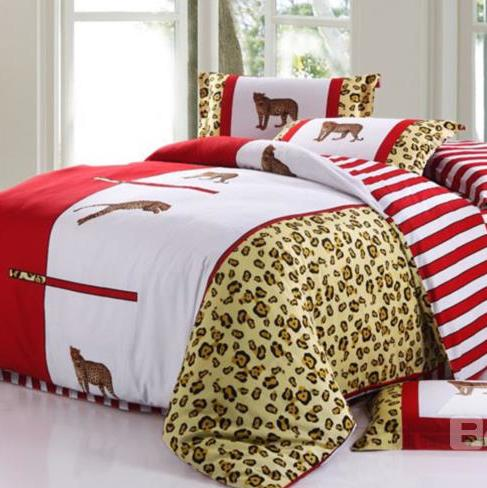Modern Leopards and Leopard Grain Print 4-Piece 3D Cotton Duvet Cover Sets